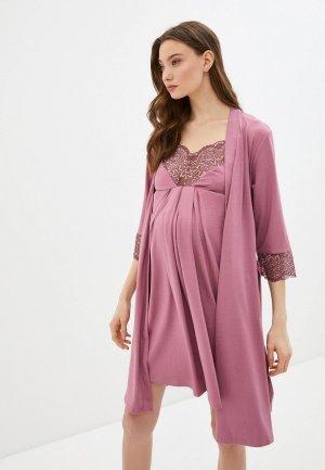 Халат и сорочка ночная Hunny mammy. Цвет: бордовый