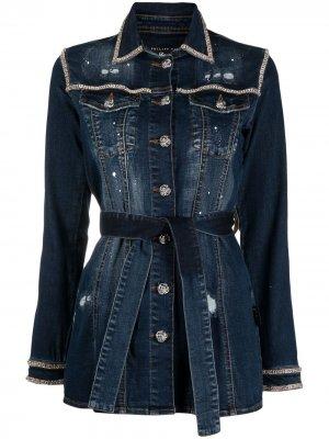 Джинсовая куртка с эффектом разбрызганной краски Philipp Plein. Цвет: синий