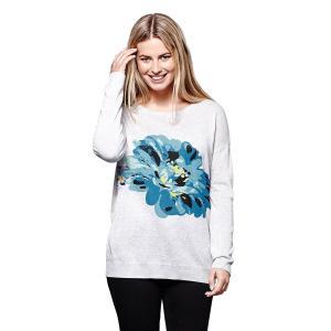 Пуловер с круглым вырезом из тонкого трикотажа YUMI. Цвет: серый/ наб. рисунок