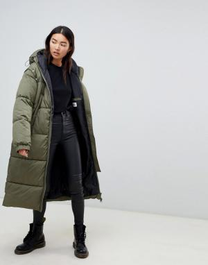 Удлиненное дутое пальто со съемными рукавами Cheap Monday. Цвет: зеленый