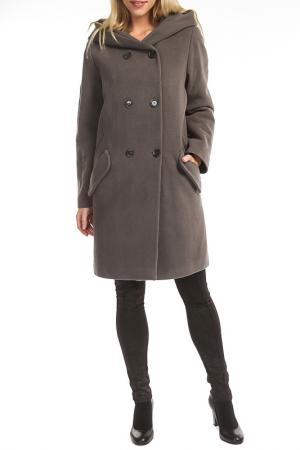 Пальто TOK. Цвет: серый