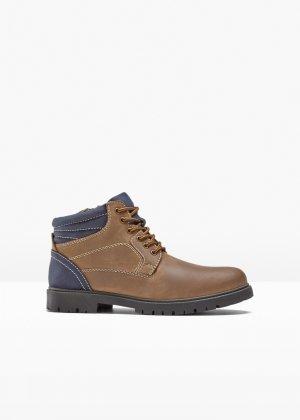 Ботинки кожаные bonprix. Цвет: корич-невый
