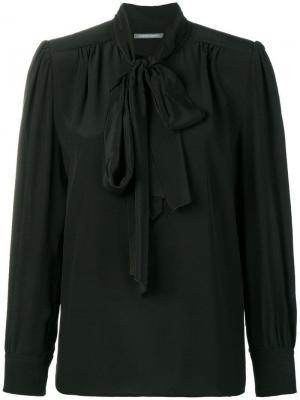 Блузка с воротником завязкой Alberta Ferretti. Цвет: черный