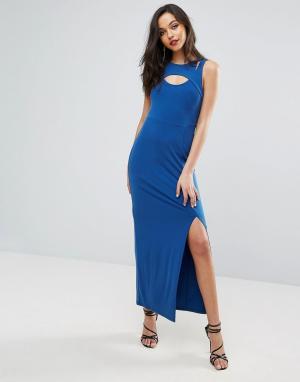 Облегающее платье с вырезами в стиле майки-борцовки спереди BCBG MaxAzria. Цвет: синий