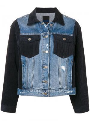 Джинсовая куртка с вельветовыми вставками SJYP. Цвет: синий