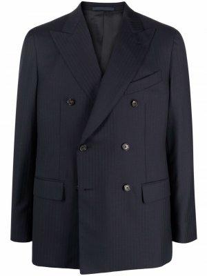 Двубортный пиджак в тонкую полоску Caruso. Цвет: синий