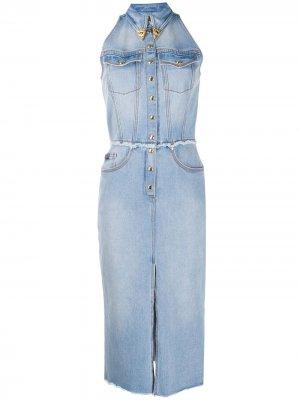 Приталенное джинсовое платье Versace Jeans Couture. Цвет: синий