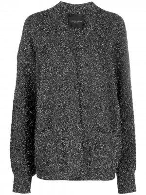 Пальто-кардиган с эффектом металлик Roberto Collina. Цвет: серебристый