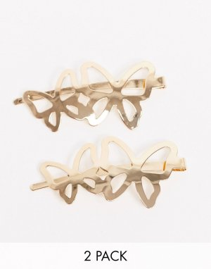 Набор из 2 золотистых заколок для волос с украшением в виде двух бабочек ASOS DESIGN-Золотой