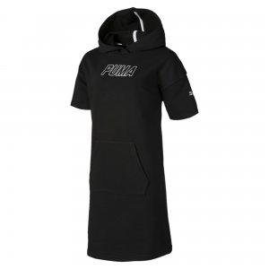 Детское платье Alpha Hooded Sweat Dress PUMA. Цвет: черный