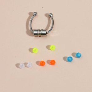 Носовое кольцо со съемным светящимся шариком 8шт SHEIN. Цвет: многоцветный