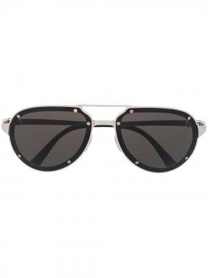Солнцезащитные очки-авиаторы Santos Cartier Eyewear. Цвет: серебристый
