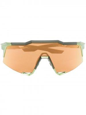 Спортивные солнцезащитные очки-маска Speedcraft 100% Eyewear. Цвет: зеленый