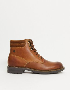 Светло-коричневые кожаные ботинки на шнуровке -Светло-коричневый Base London