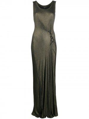 Платье в рубчик с люрексом Ann Demeulemeester. Цвет: золотистый
