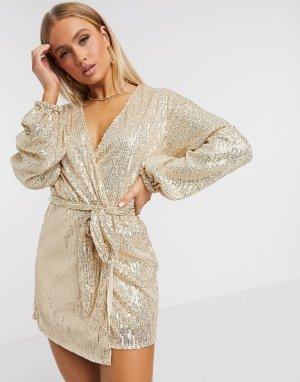 Платье мини с длинными рукавами и золотистыми пайетками Club L-Золотой L London