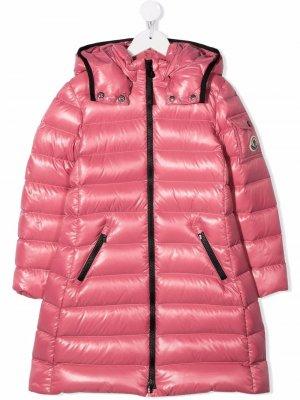 Logo-patch padded coat Moncler Enfant. Цвет: розовый