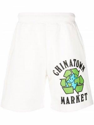 Logo-print track shorts Chinatown Market. Цвет: белый