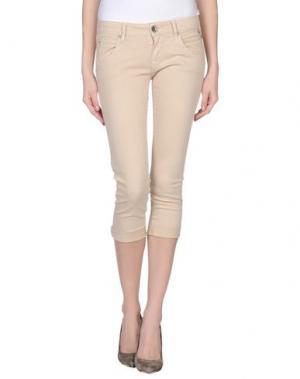 Джинсовые брюки-капри REPLAY. Цвет: бежевый