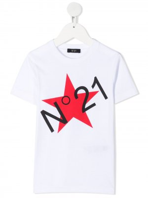 Футболка с логотипом Nº21 Kids. Цвет: белый