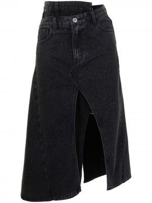 Деконструированная джинсовая юбка миди Ground Zero. Цвет: черный
