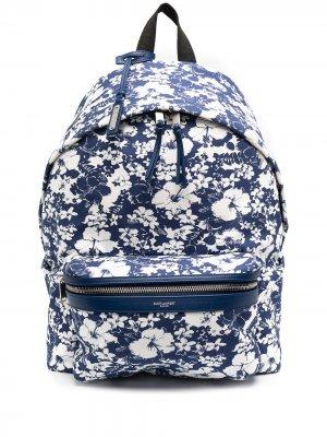 Рюкзак с цветочным принтом Saint Laurent. Цвет: синий