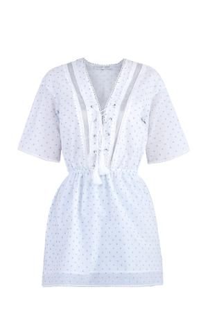 Приталенная рубашка со шнуровкой и отделкой из вуали кружева ALEXANDER TEREKHOV. Цвет: белый