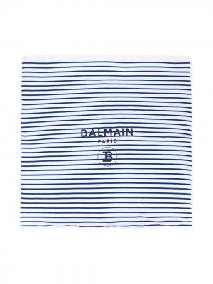 Одеяло в полоску с логотипом Balmain Kids. Цвет: синий