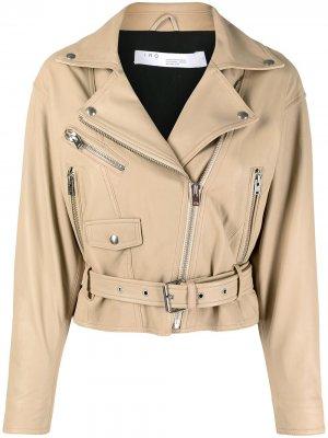Байкерская куртка с молниями и поясом IRO. Цвет: нейтральные цвета