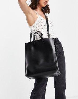 Большая черная сумка-тоут -Черный цвет Claudia Canova