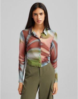 Сетчатая рубашка с графичным принтом -Разноцветный Bershka