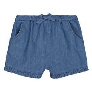 Шорты-шаровары с воланом из джинсовой ткани, 1 мес. - 3 года LA REDOUTE COLLECTIONS. Цвет: синий