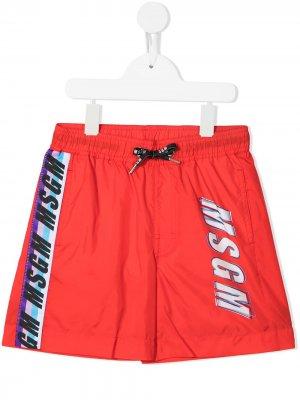 Плавки-шорты с логотипом MSGM Kids. Цвет: красный