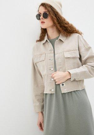 Куртка джинсовая Sela. Цвет: бежевый