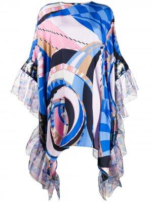 Платье Wally с принтом и оборками Emilio Pucci. Цвет: синий