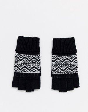 Черные перчатки без пальцев с узором Фэйр-Айл -Мульти ASOS DESIGN