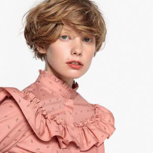 Блузка с воротником-стойкой и большим воланом LA REDOUTE COLLECTIONS. Цвет: геометрический рисунок