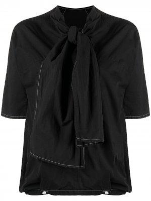 Блузка 1990-х годов с завязками на воротнике Dries Van Noten Pre-Owned. Цвет: черный