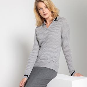 Пуловер с воротником-поло из тонкого трикотажа ANNE WEYBURN. Цвет: в полоску серый меланж,в полоску черный