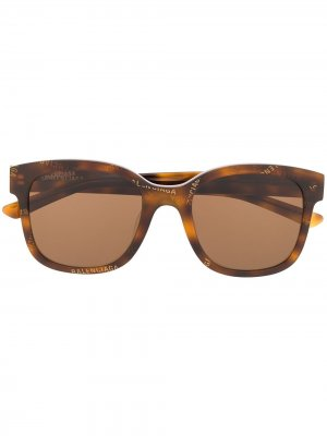 Logo print square-frame sunglasses Balenciaga Eyewear. Цвет: коричневый