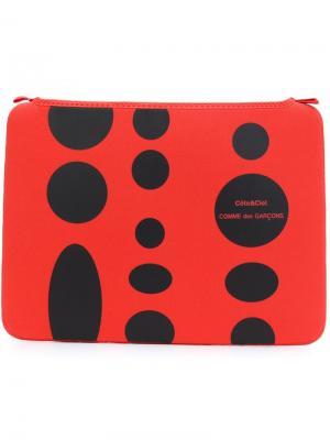 Чехол для ноутбука в горох Comme Des Garçons Wallet. Цвет: красный