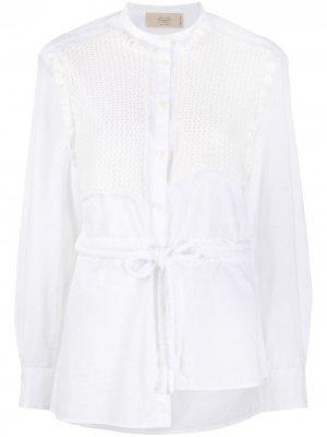 Рубашка с вышивкой Maison Flaneur. Цвет: белый