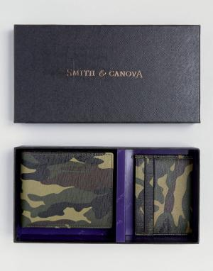 Кожаный бумажник и визитница с камуфляжным принтом в подарочном наборе Smith And Canova. Цвет: зеленый