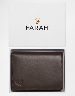 Кожаный бумажник Ottam Farah. Цвет: коричневый