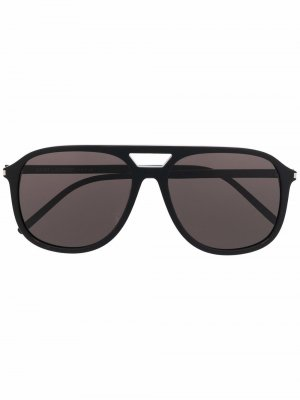 Солнцезащитные очки-авиаторы с затемненными линзами Saint Laurent Eyewear. Цвет: черный