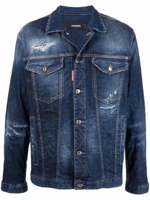 Джинсовая куртка с прорезями Dsquared2. Цвет: синий