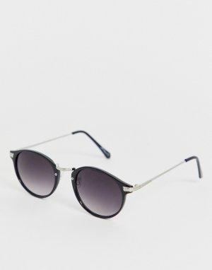 Круглые солнцезащитные очки в черной оправе -Черный Jeepers Peepers