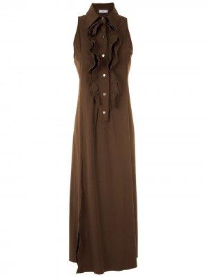 Платье макси с оборками Amir Slama. Цвет: коричневый