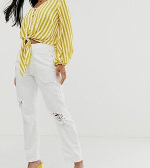 Белые джинсы в винтажном стиле с рваной отделкой -Белый River Island Petite