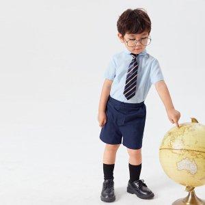 Рубашка с галстуком в полоску и шорты для мальчиков SHEIN. Цвет: многоцветный